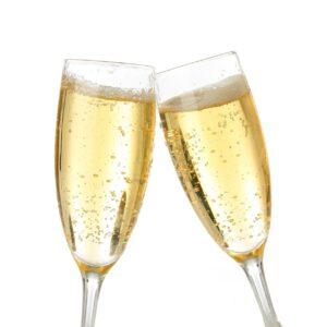champagne, brindisi, white background